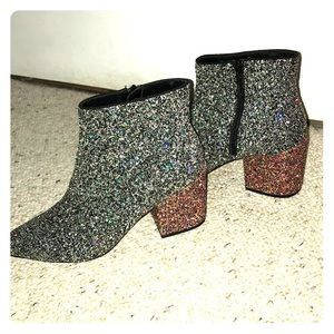 Pointed toe glitter heeled booties